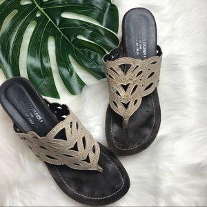 DONALD J. PLINER metallic cutout  sandal wedges